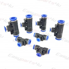 Pneumatic Tee / T-shape Fittings, equal / reducing Connectors for Air Water Hose tube Quick Release